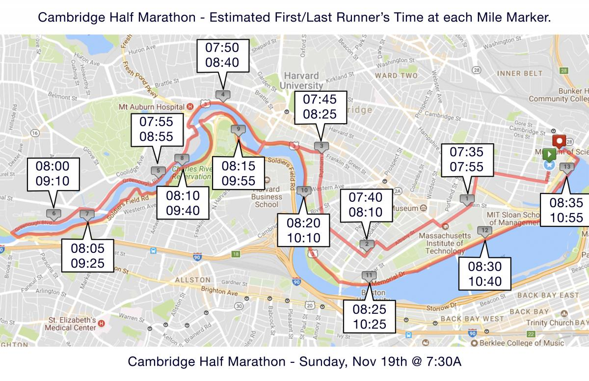 2017 Cambridge Half Marathon map