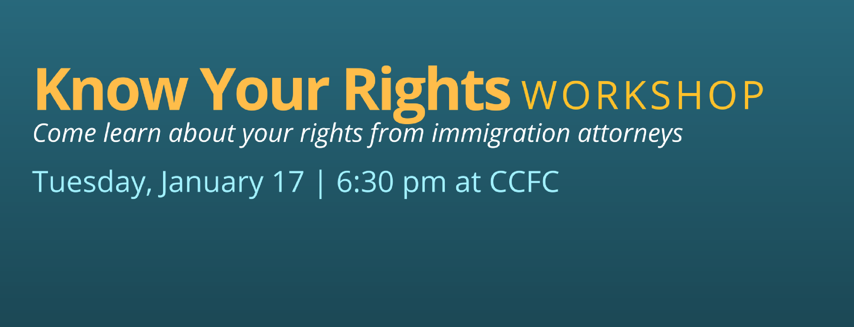 Know Your Rights Workshop, January 17, 2017