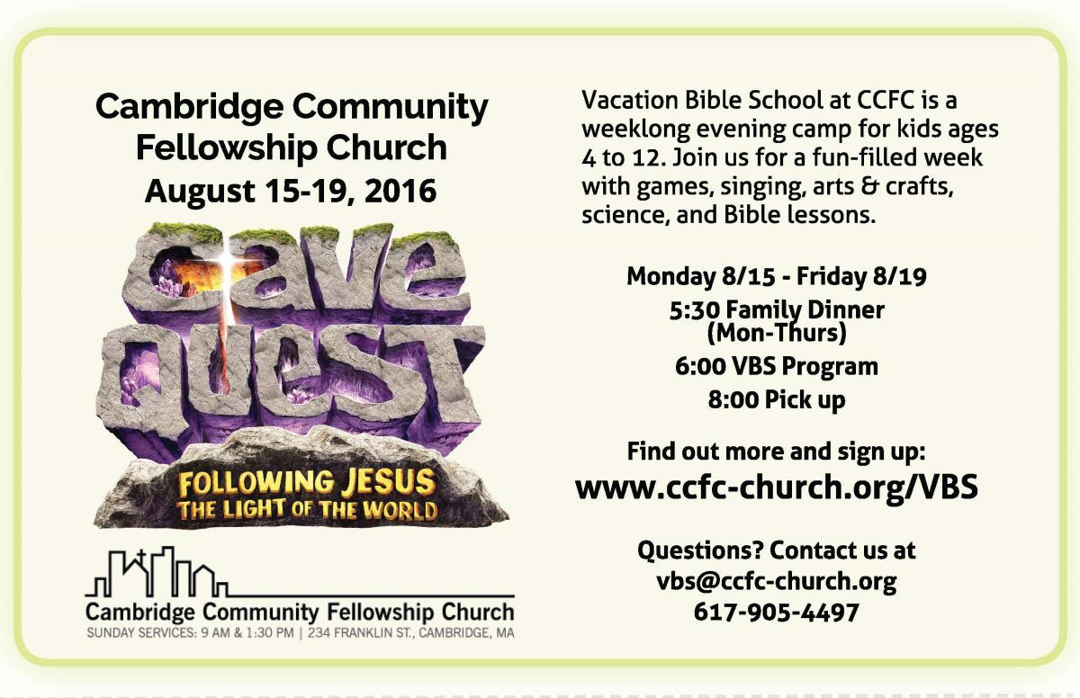 2016 CCFC Vacation Bible School Flier
